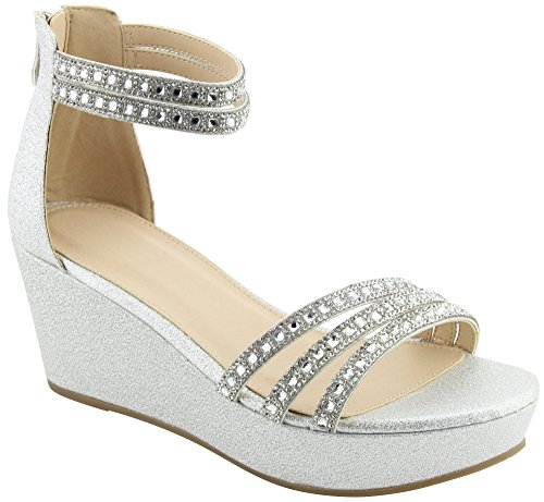 Cambridge Select Womens Ankle Strappy Crystal Rhinestone Platform Wedge Sandal Silver cwuiGAMMe