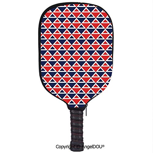 AngelDOU Americana Decor Waterproof Zipper Single Pickleball Paddle Racket Cover Case USA Flag Inspired Abstract Pattern Squares and Triangles Art Decorative for for Most Rackets.Red Dark Blue and Whi