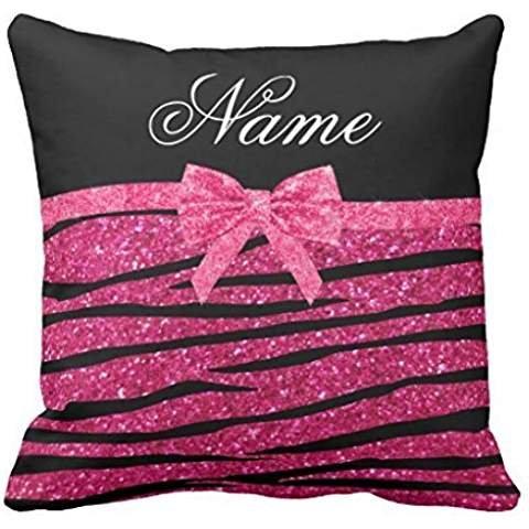Custom name hot pink glitter zebra stripes bow throw pillowcase Pillow shams case Cushion Cover -