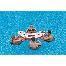 NorthLight 67 in. Inflatable Red, White & Black Floating Swimming Pool Bar Set