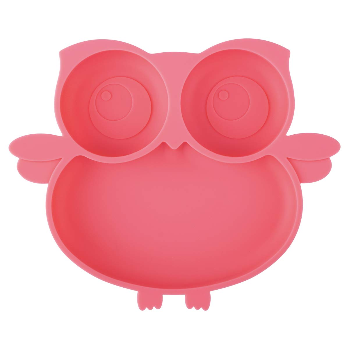 Kirecoo Owl Suction Silicone Plate for Toddlers - Self Feeding Training Storage Divided Bowl and Dishes for Baby and Kids, Fits for Most Hairchairs Trays, BPA Free Microwave Dishwasher Safe (Pink)