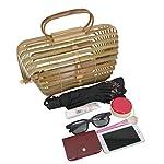 Agneta Women's Handmade Bamboo Handbag Basket Tote Handle Straw Beach Bag for Women