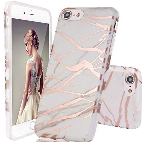 iPhone 6 Case,iPhone 6S Case,DOUJIAZ Marble Design Clear Bumper TPU Soft Case Rubber Silicone Skin Cover for 4.7 inches iPhone 6/6S -White/ Rose (Iphone Silicone Rubber Skin Cover)