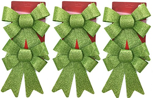 Holiday Crafts (TM) Set of 6 Printed Glitter Bows for Decorations or Gift Giving (5.5 x 8 Inches, Green)