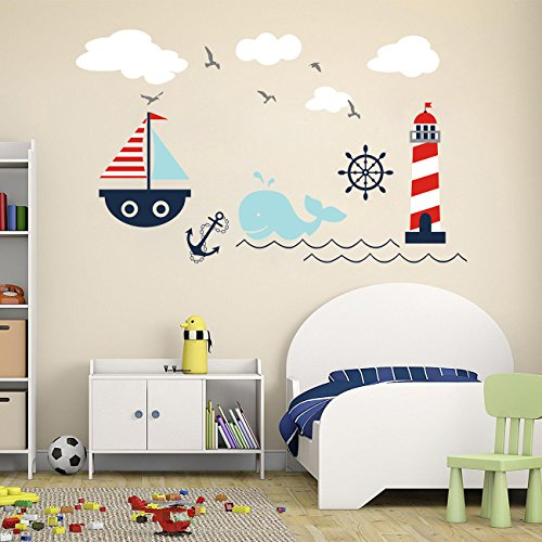 Higoss Nautical Baby Nursery Wall Decal Lighthouse Whale and Sailboat Vinyl Wall Art Sticker