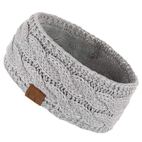 (CC Winter Fuzzy Fleece Lined Thick Knitted Headband Headwrap Earwarmer (Metallic Silver))