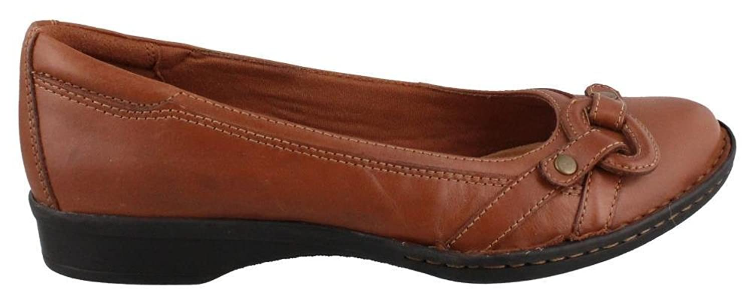 Clarks Recent Alley Womens Tan Leather Loafer 8-MEDIUM