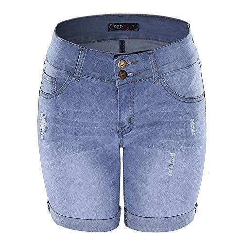 - POPTIME Women's Mid Waist Elastic Denim Short Jeans for Plus (9, Light Blue)