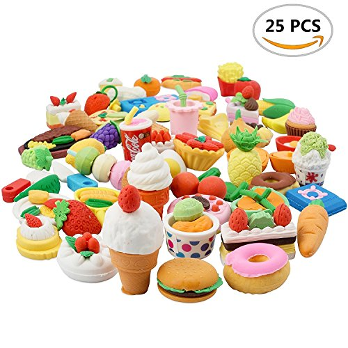 25PCS Pencil Erasers Assorted Food Cake Dessert Puzzle Toys Earsers For Kids(25 different Style randomly selected from as shown in the picture)-By LW Funny Toys
