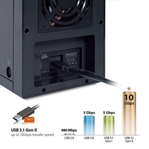 """Mediasonic USB 3.1 4 Bay 3.5"""" SATA Hard Drive Enclosure – USB 3.1 Gen 2 10Gbps Type C / USB-C (HF7-SU31C) by Mediasonic (Image #4)"""