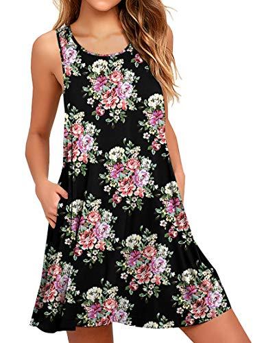 WEACZZY Women Summer Sleeveless Pockets Casual Swing T Shirt Dresses Beach Cover up Plain Pleated Tank Dress (L, 00 Floral Peony)