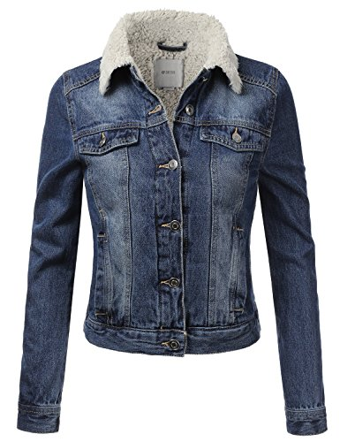 DRESSIS Womens Vintage Faux Fur-Lined Button Down Denim Jacket Blue L