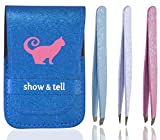 Image of Tweezers Set of 3 Stainless Steel With Leatherette Case (Frosted Glitter Series: Blue Flat, White Pointed and Pink Slant Tip) Best for Eyebrow / Ingrown Hair - Precision Tweezer Kit