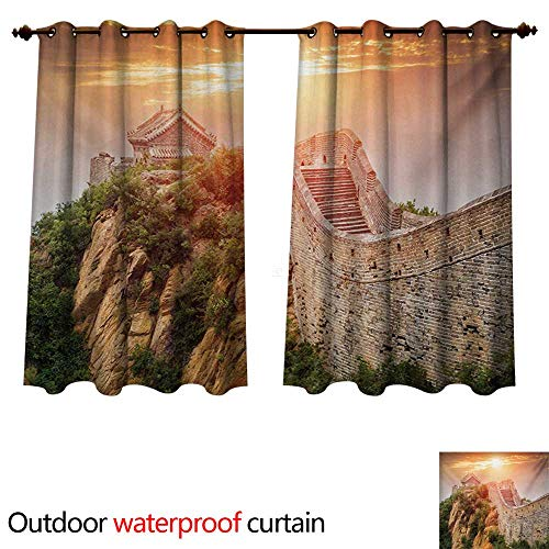 Great Wall of China Outdoor Curtains for Patio Sheer Sunrise Horizon on Traditional Stone Building Empire Culture Design W96 x L72(245cm x 183cm)