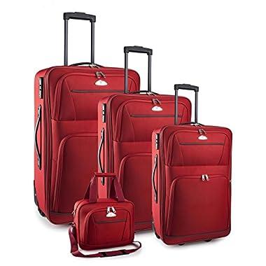 TravelCross Luggage 4 Piece Set Expandable w/ TSA lock - Red
