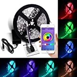 Led Bluetooth Lights Strip, SCS ETC Led Strip Wireless, Bluetooth Smartphone App Controlled 5050 16.4 Ft (5M) 300leds RGB with 12V DC 3A Charger Power Color Changing LED Strip Light for Decoration