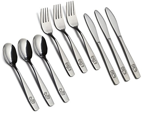 9 Piece Stainless Steel Kids Cutlery, Child and Toddler Safe Flatware, Kids Silverware, Kids Utensil Set Includes 3 Knives, 3 Forks, 3 Spoons, Total of 3 Place Settings, Ideal for Home and Preschools by GlossyEnd (Image #2)
