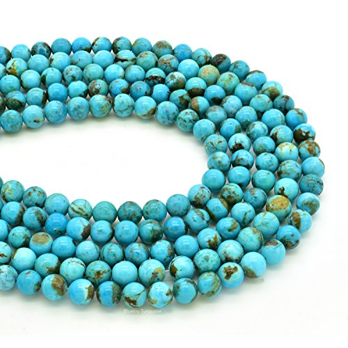 Bluejoy Genuine Natural American Turquoise Round Bead 16 inch Strand for Jewelry Making (5mm)