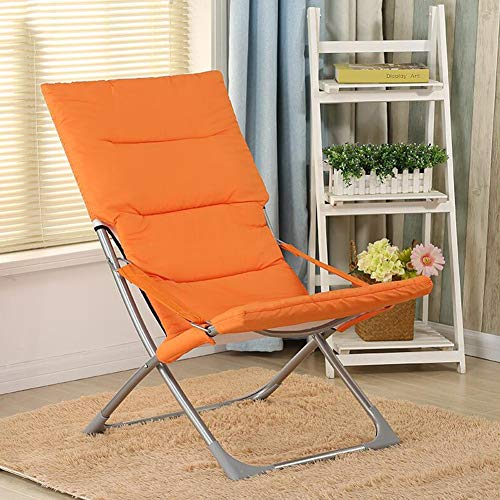 Stacking Moon Chair - CJC Reclining Deck Armrests Non-Slip Folding Chair Steel+PP Cotton Cover Sofa Moon Sun Loungers (Color : Orange)