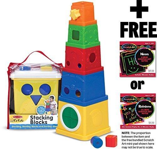 Melissa & Doug K's Kids Stacking Blocks + FREE Scratch Art Mini-Pad Bundle [91701] ()