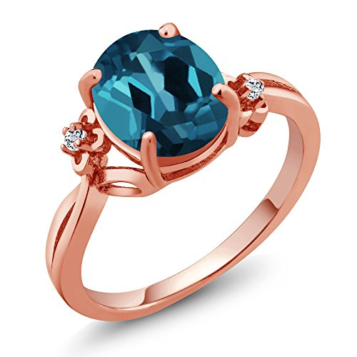 14k Gold Birthstone Ring - 2.84 Ct Oval London Blue Topaz White Topaz 14K Rose Gold Ring (Ring Size 6)
