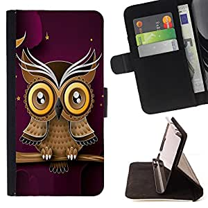 DEVIL CASE - FOR LG G3 - Owl Purple Smart Design Minimalist Modern - Style PU Leather Case Wallet Flip Stand Flap Closure Cover