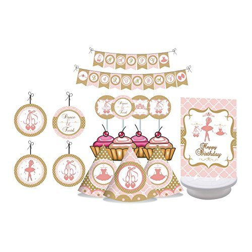Ballerina Party. Ballerina Birthday Decorations for Girls. Pink & Gold Ballerina Princess. Includes Party Hats, Centerpieces, Bunting Banner, Danglers and Cupcake Toppers ()
