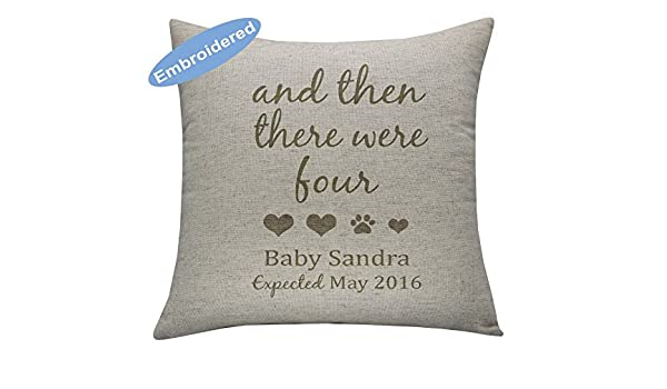 YugTex Cushion Cover Embroidered Pregnancy Announcement to Parents And then there were four,Pregnancy Reveal New Grand Parents Gifts, Maternity Gifts