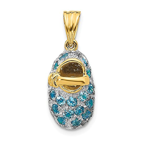 Mia Diamonds 14k Solid Yellow Gold and Rhodium-Plating Prong-Set December/Blue Topaz Baby Shoe Charm (23mm x 9mm)