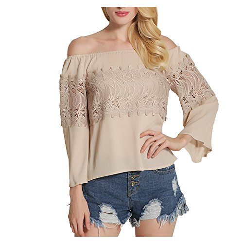 Darkey Wang Women Sexy Print Ruffled Off Shoulder Bell Sleeve Shrit Tops(XL(US(16-18)-Khaki)