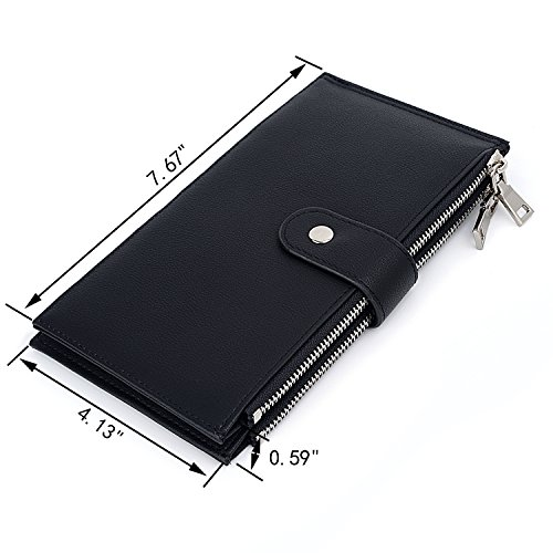 UTO RFID Wallet Women PU Leather Blocking Tech 19 Card Case Money Organizer Phone Zipper Pocket Black by UTO (Image #5)