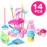 "DOLL SIZE!!! 14 Piece 9.5"" MINI Cleaning Cart Playset Household Appliances Tools Pretend Play Vacuum Cleaner Cleaning Trolley for Kids Cleaning Supplies Toys Broom, Mops, Brushes, Caution Sign(666-86)"