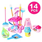 Doll Size 14 Piece 9.5' Mini Cleaning Cart Playset Household Appliances Tools Pretend Play Vacuum Cleaner Cleaning Trolley for Kids Cleaning Supplies Toys Broom, Mops, Brushes, Caution Sign(666-86)
