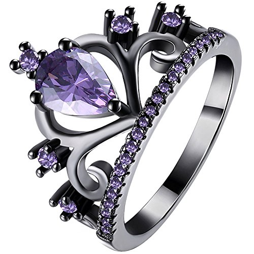 LWLH Womens Black Gold Plated Purple Amethyst Cubic Zirconia CZ Princess Crown Tiara Ring Wedding Band Szie -