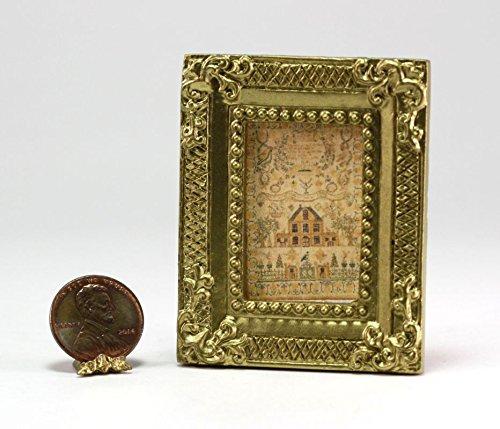 Dollhouse Miniature 1:12 Scale Gold Framed Picture of Embroidered Sampler (Framed Sampler)