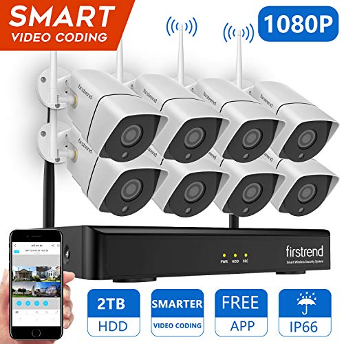 1080P Security Camera System Wireless, Firstrend 8CH Wireless Camera System with 8pcs 1080P HD Security Camera and 2TB Hard Drive Pre-Installed,P2P Wireless Security System for Indoor and Outdoor Use