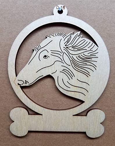 Borzoi Dog Wooden Christmas Ornament Customizable or Personalized