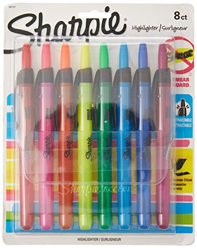 (Wholesale CASE of 8 - Sanford Sharpie Accent Retractable Highlighters-Highlighter, Retractable, Chisel Point,8Color/ST,FluorstAsst)