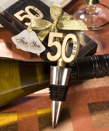 50th Anniversary Barware Set - 50th Anniversary Wine Bottle Stopper Favors (Set of 72)