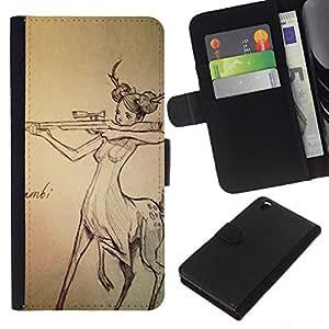 iBinBang / Flip Funda de Cuero Case Cover - Centaur Mujer Caza Gun derechos de los animales - HTC DESIRE 816