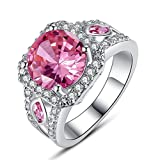 Empsoul 925 Sterling Silver Natural Chic Filled Pink Topaz Forever Love Wedding Ring