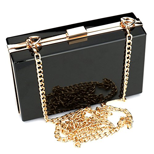- Women Cute Transparent Clear See Through Box Clutch Acrylic Evening Handbag Cross-Body Purse Bag (Black)
