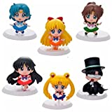 6pcs Set Sailor Anime Mini Figures Cake topper Mars Jupiter Chibi Pluto
