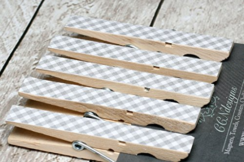 Gray Gingham Clothespin Magnet Set]()