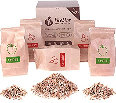 Wood chips for smoking - Wood Chips Fruit Mix - Variety Pack of Apple and Cherry Smoking Chips for BBQ and all smoker grills: gas, electric and charcoal by Firestar
