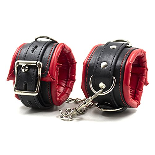 Metrical Soft Padded Leather Handcuffs Adjustable Wrist Cuffs/Ankle Cuffs (Ankle - Padded Hand Leather Cuffs