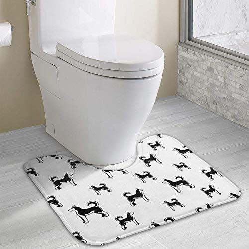 Bennett11 Siberian Husky Dog Seamless U-Shaped Toilet Floor Rug Non-Slip Toilet Carpets Shower Mat 19.2″x15.7″