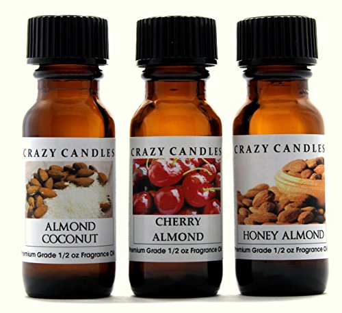Crazy Candles 3 Bottles Set, 1 Almond Coconut, 1 Cherry Almond, 1 Honey Almond 1/2 Fl Oz Each (15ml) Premium Grade Scented Fragrance Oils ()