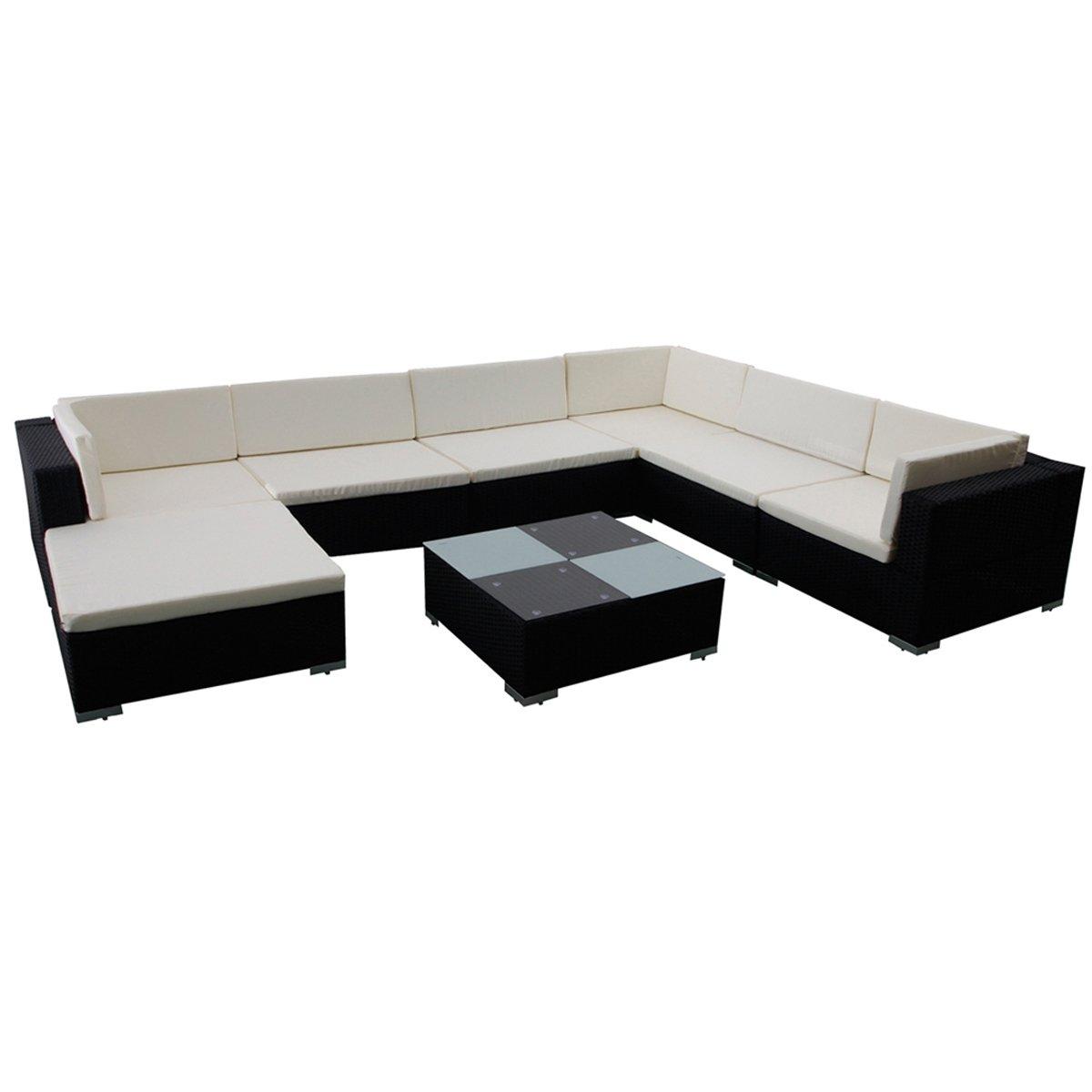 vidaXL Gartenmöbel Poly Rattan Set Lounge Schwarz 24-teilig