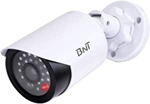 BNT Dummy Fake Security Camera, with One Red LED Light at Night, for Home and Businesses Security Indoor/Outdoor (1 Pack, White)